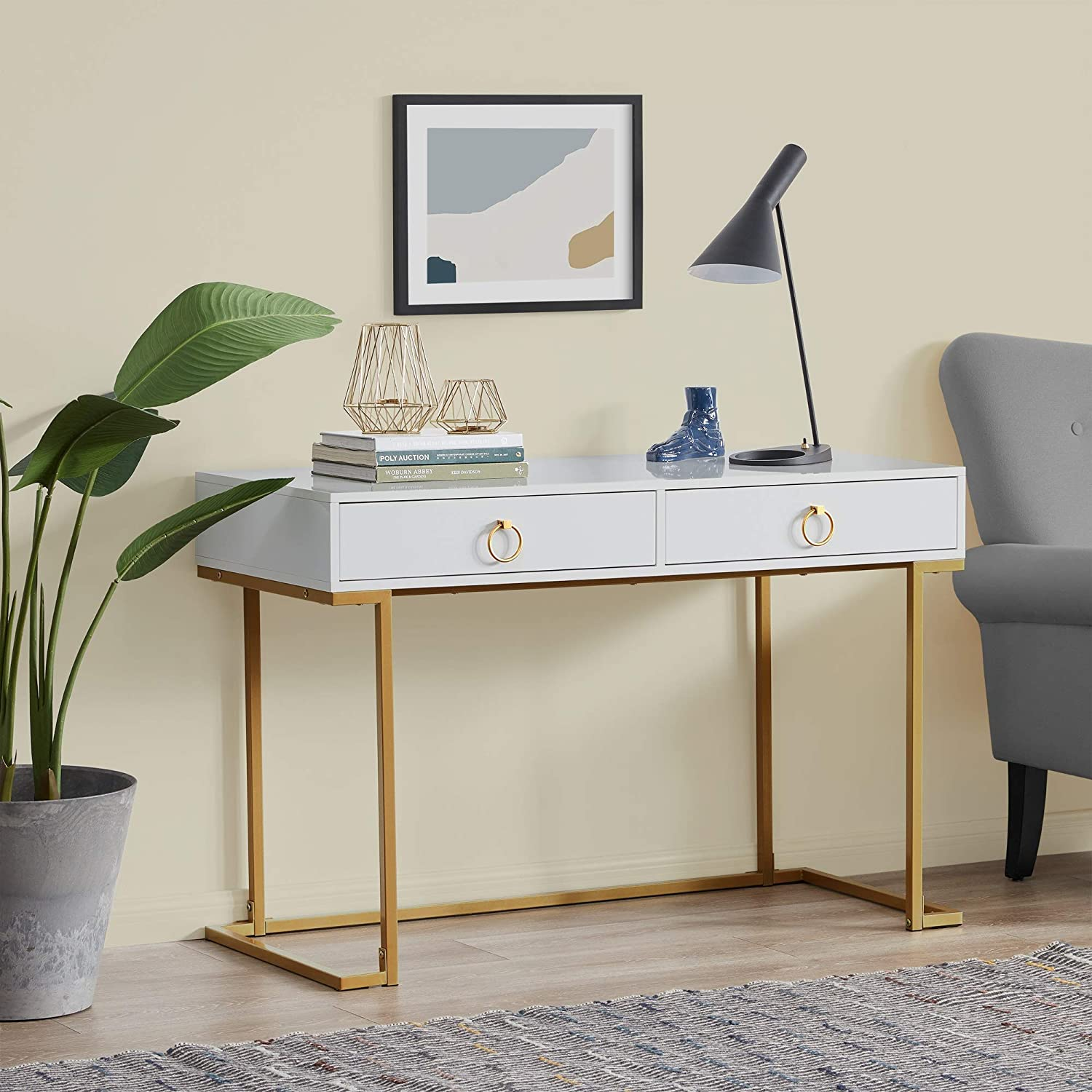 BELLEZE Two-Drawer Home Office Computer Desk Vanity Table, Wood and Metal, White & Gold