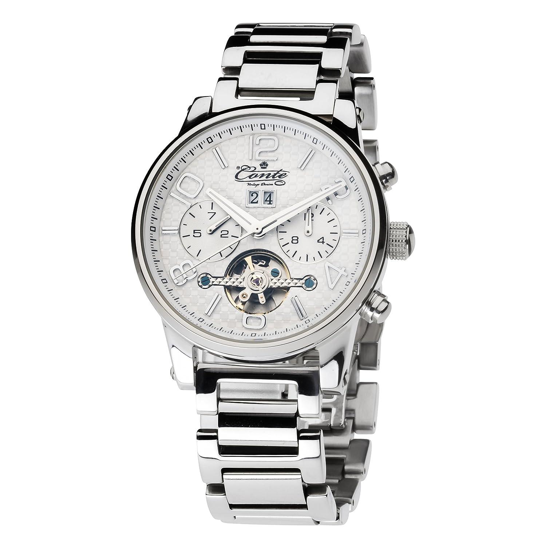 M.Conte Herren-Armbanduhr Chronograph Automatik Edelstahl Silber RA-S-1610