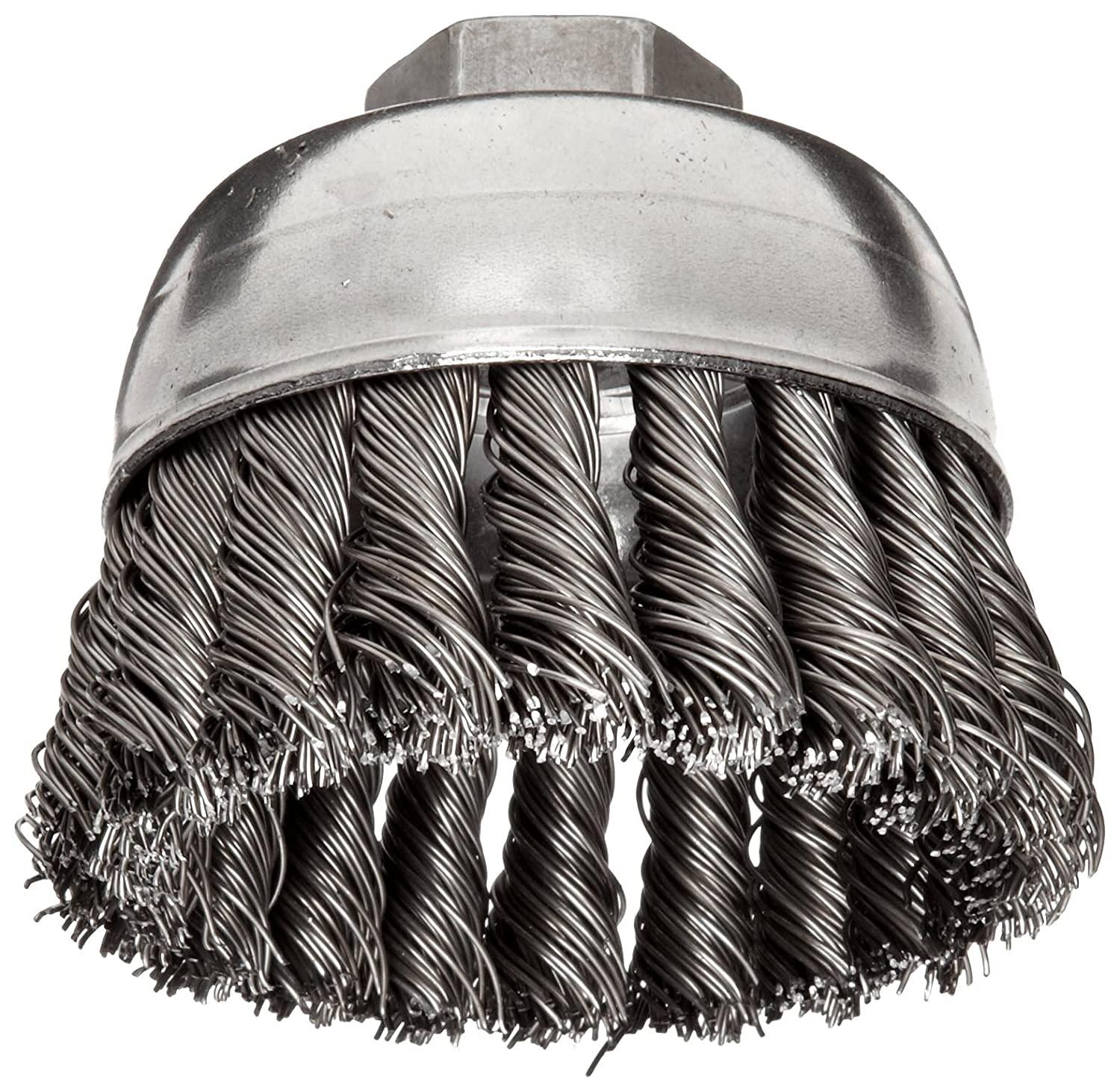 Weiler Wire Cup Brush Threaded Hole Steel Partial Twist Knotted Single Row 2 3 4 Diameter 0.02 Wire Diameter 5 8 11 Arbor 1 Bristle Length 14000 rpm Pack of 1