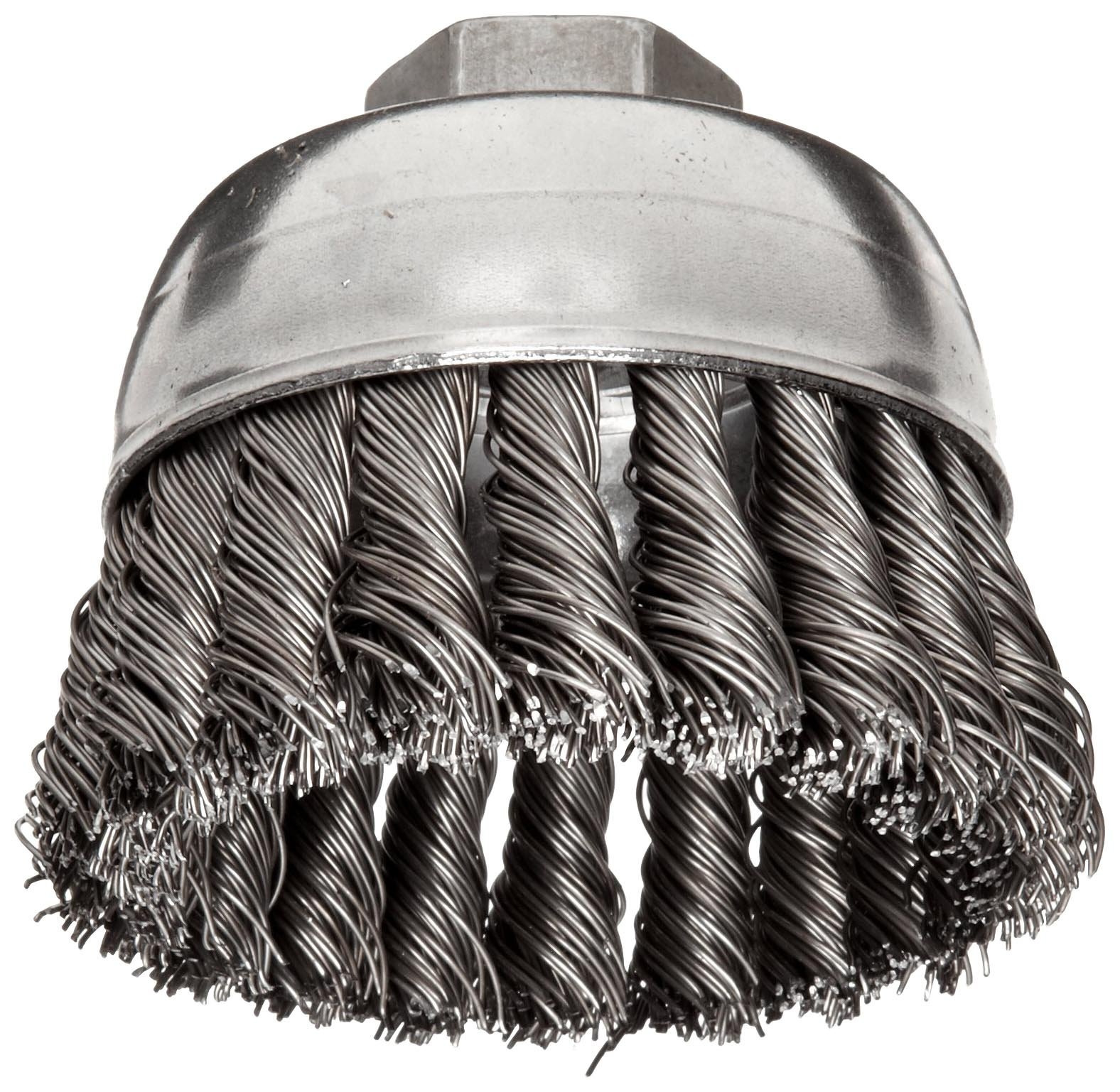 Weiler Wire Cup Brush, Threaded Hole, Steel, Partial Twist Knotted, Single Row, 2-3/4'' Diameter, 0.02'' Wire Diameter, 5/8''-11 Arbor, 1'' Bristle Length, 14000 rpm (Pack of 1) by Weiler