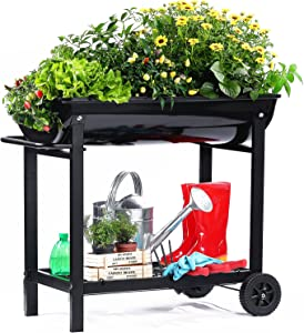 Aveyas Mobile Metal Raised Garden Bed Cart with Legs & Wheels, Elevated Tall Planter Box with Lower Shelf for Outdoor Indoors Home Patio Backyard Vegetables Tomato Herb DIY Easy Grow (Black, 32 inch )