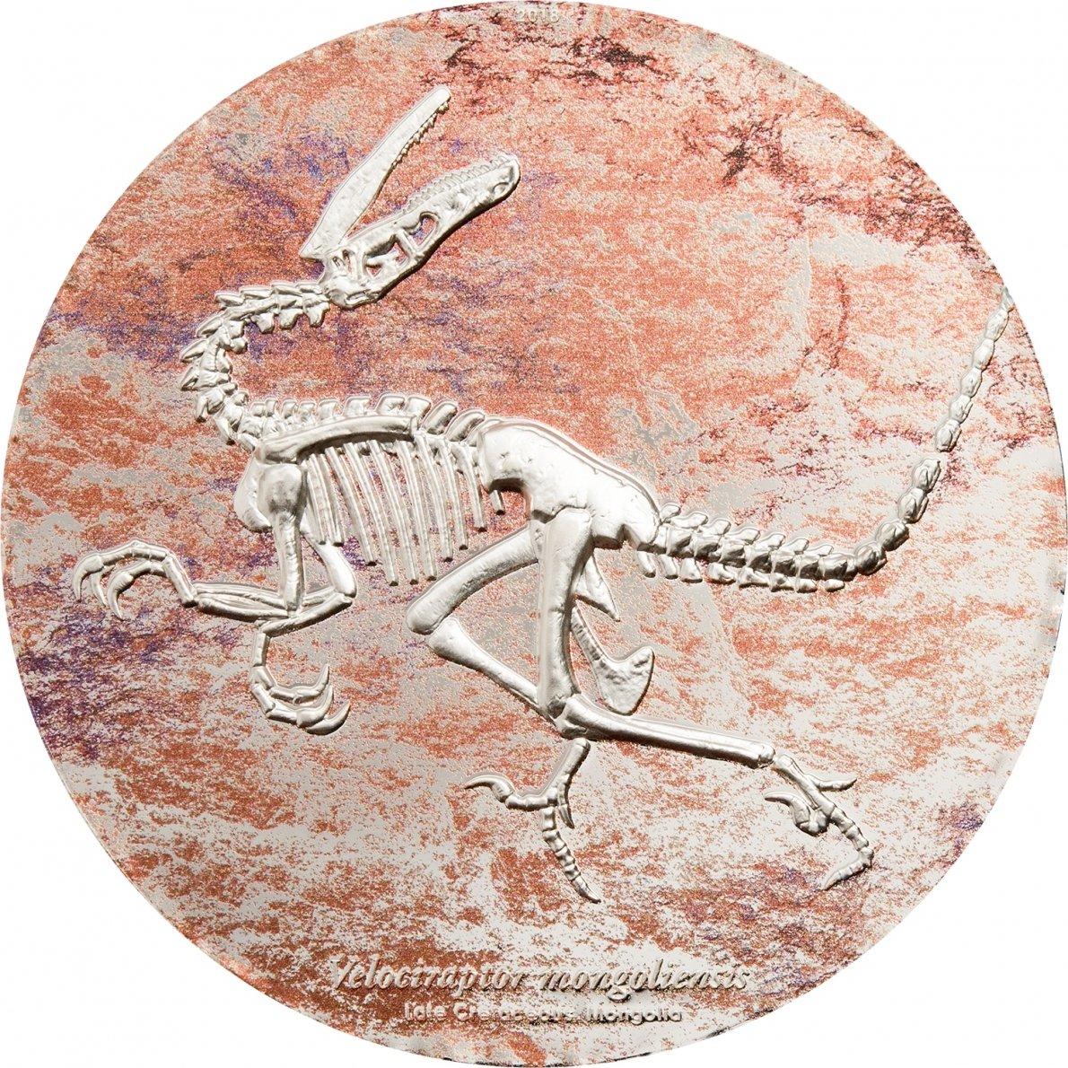 InverCoin Prähistorische Bestien - Velociraptor 2000 Togrog 3 Unzen farbig Silbermünze - Mongolei Dinosaurier 2018