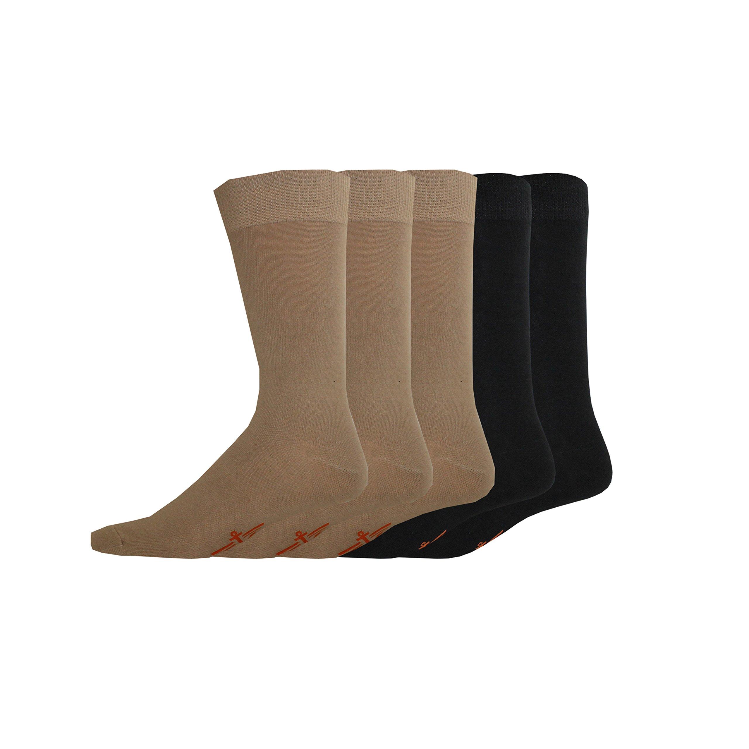 Dockers Men's 5 Pack Classics Dress Flat Knit Crew, Khaki Assorted, Sock Size:10-13/Shoe Size: 6-12