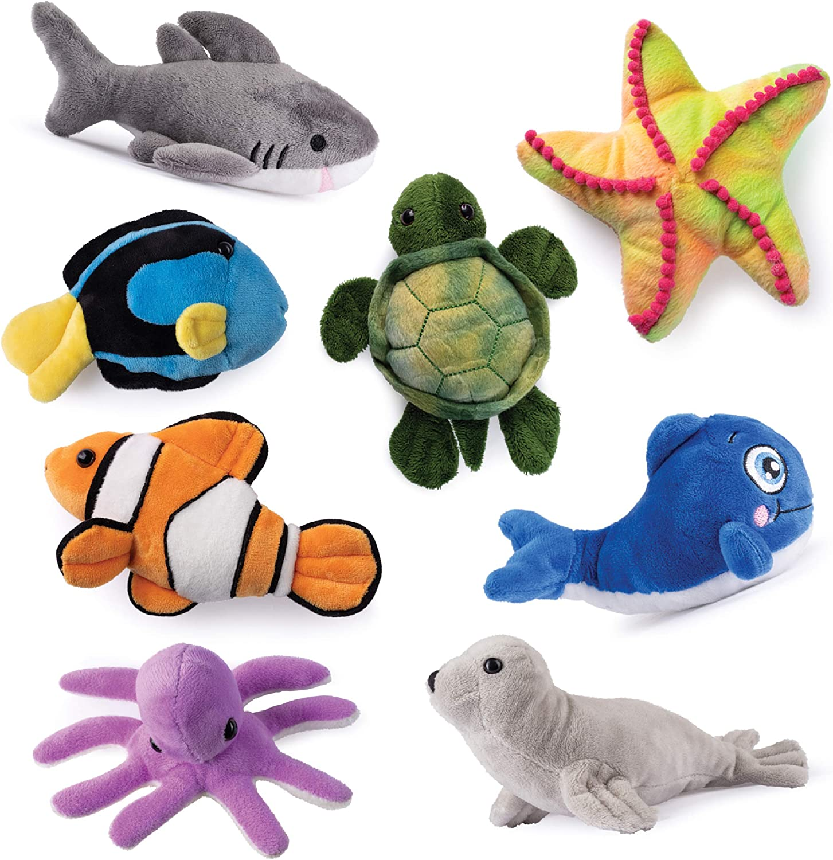 Plush Sea Creatures Soft Plush Stuffed Sea Animals Playset Plush Sea Life Assortment, Set of 8, Talking Blue Whale Included - Sea Turtle, Shark, Sea Lion, Octopus, Stripe Fish, Starfish, Clown Fish