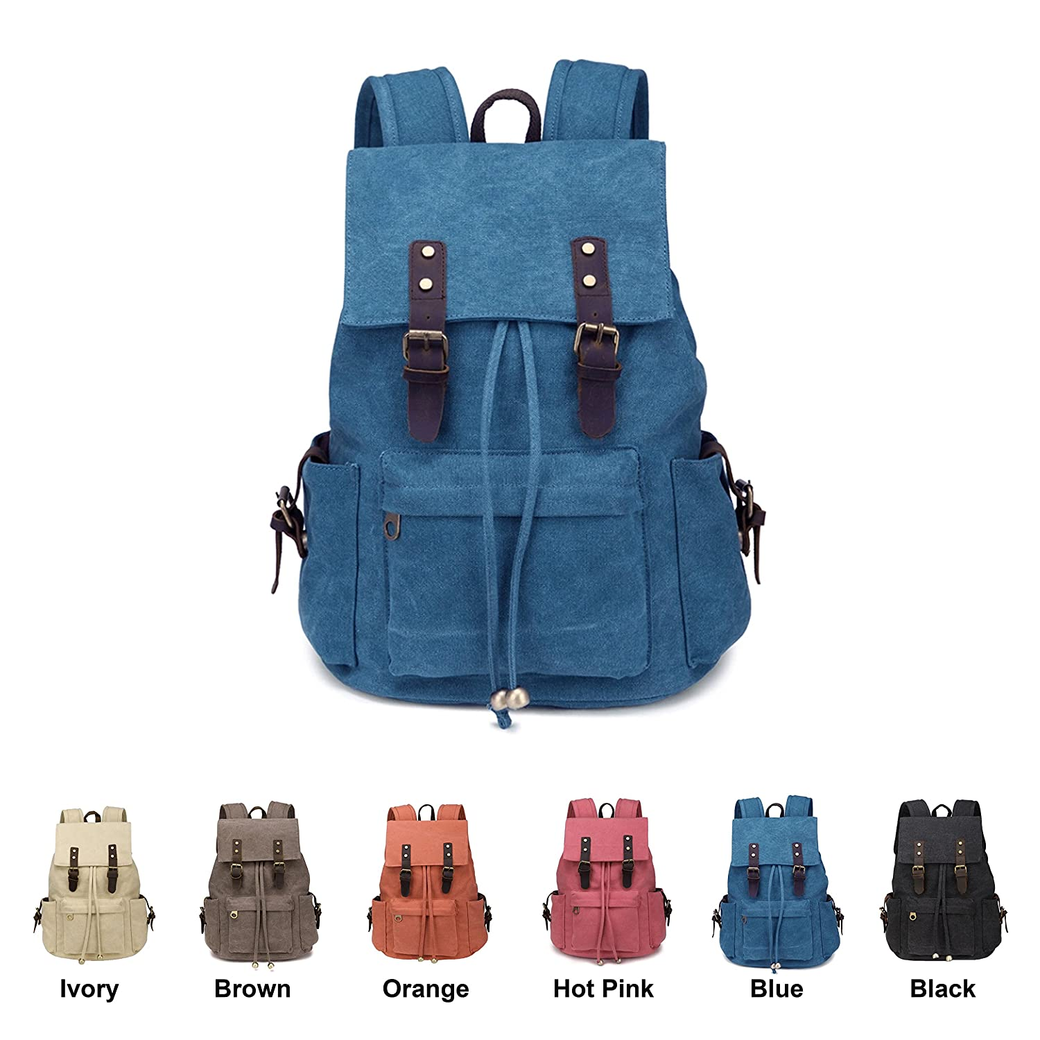 5ed56a5bc581 Amazon.com  Queenie - Canvas Causal Daypack Laptop Backpack College Campus School  Bags for Teens Unisex Boys Girls (A005 Grey)  Computers   Accessories