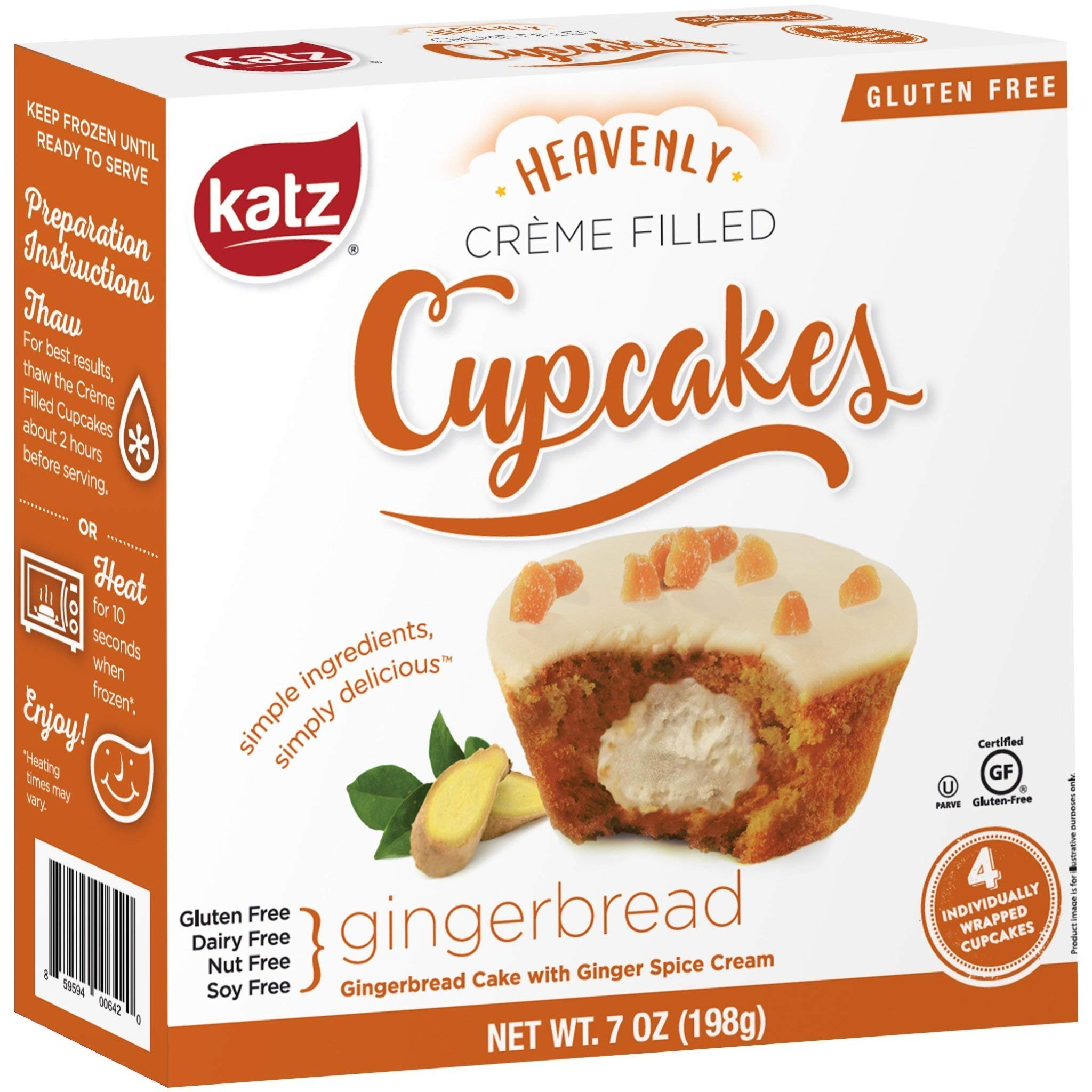 Katz Gluten Free Gingerbread Crème Filled Cupcakes | Dairy, Nut, Soy and Gluten Free | Kosher (3 Packs of 4 Crème Cupcakes, 7 Ounce Each) by Katz Gluten Free