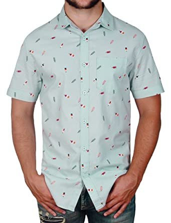 b64434d5dc0 Straight Faded Mens Short Sleeve Modern Fit Button Down Shirt at Amazon  Men's Clothing store