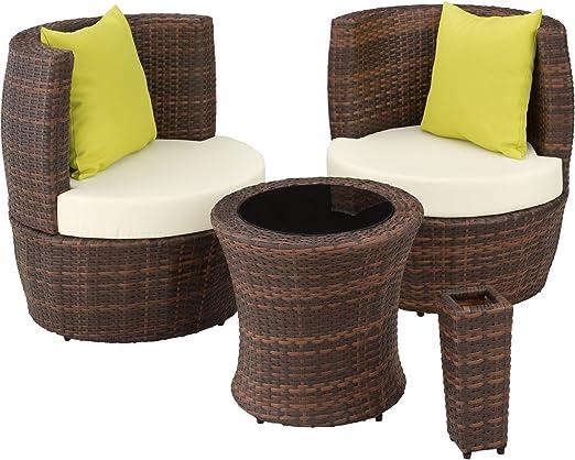 TecTake 800690 Conjunto de Muebles de Jardín de Poly Ratán y Aluminio, para 2 Personas, Almacenamiento Compacto en Forma de Huevo, 2 Sillones, 1 Mesa, 1 Florero (Marrón | no. 403140): Amazon.es: Jardín