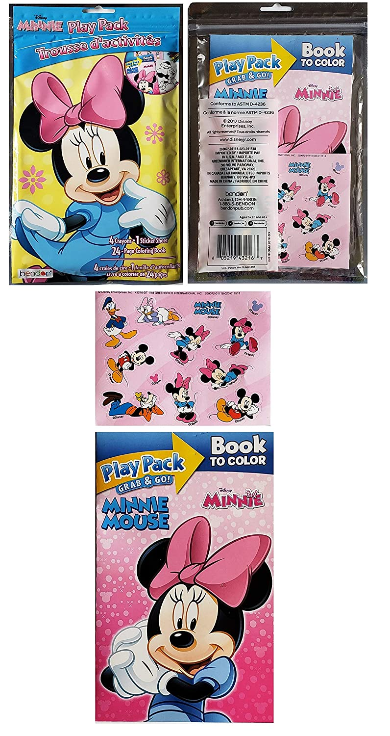 and 24 Piece Puzzle in a Tin Mixed Combined Minnie Mouse Activity Set Bundle of 4 Pieces: Grab and Go Play Pack Dress and Play Sticker Scene Jumbo Playing Cards