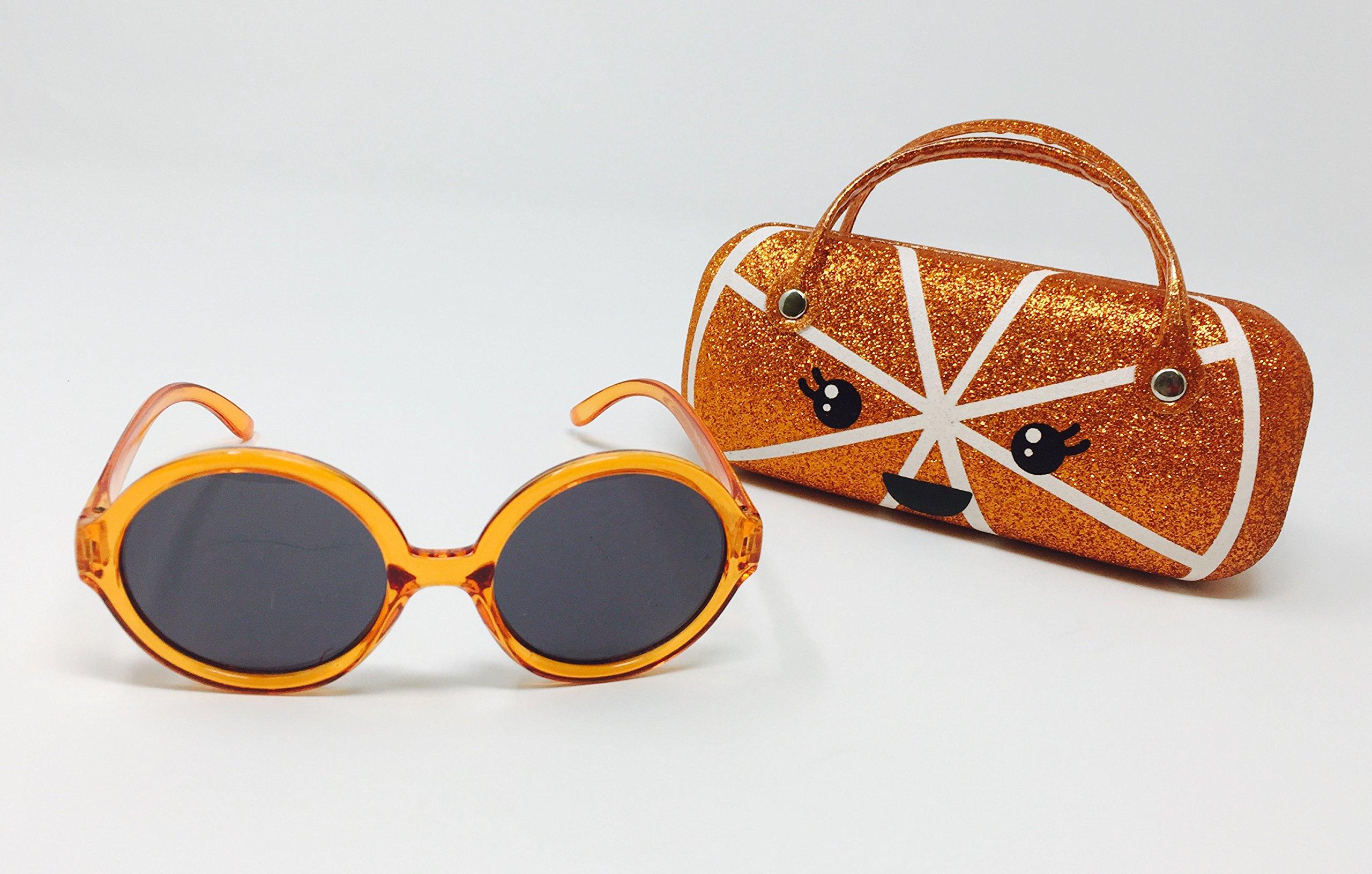 Orange Slice Summer Sunglasses with Adorable Orange Kawaii Case Set (Girls Size)