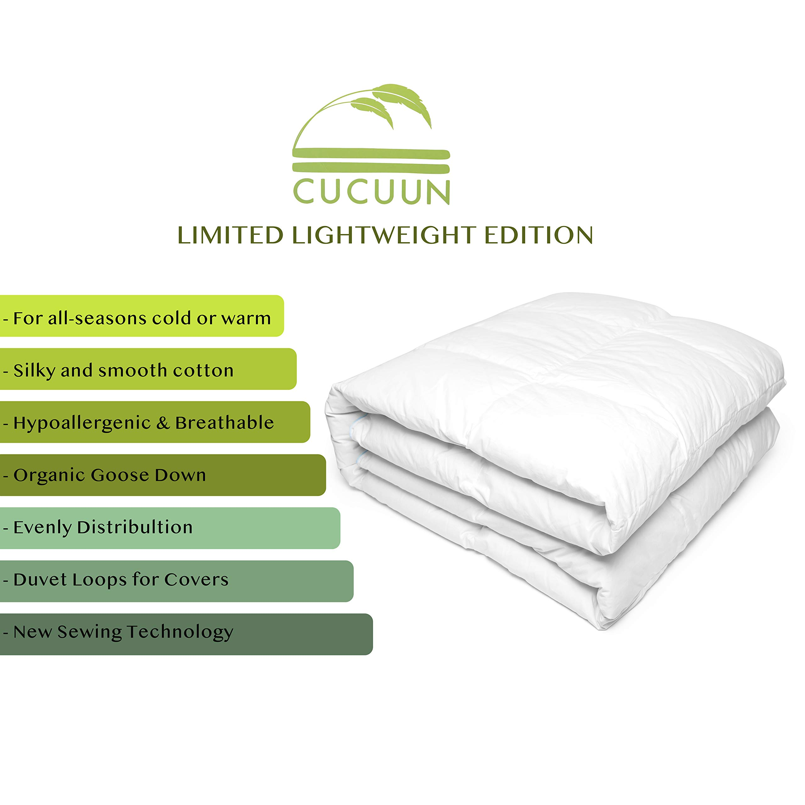 Cucuun Summer Lightweight Goose Down Comforter King Size Duvet Insert Solid White 1200 Thread Count 750+ Fill Power 100% Egyptian Cotton Shell Hypo-allergenic Down by Cucuun (Image #5)