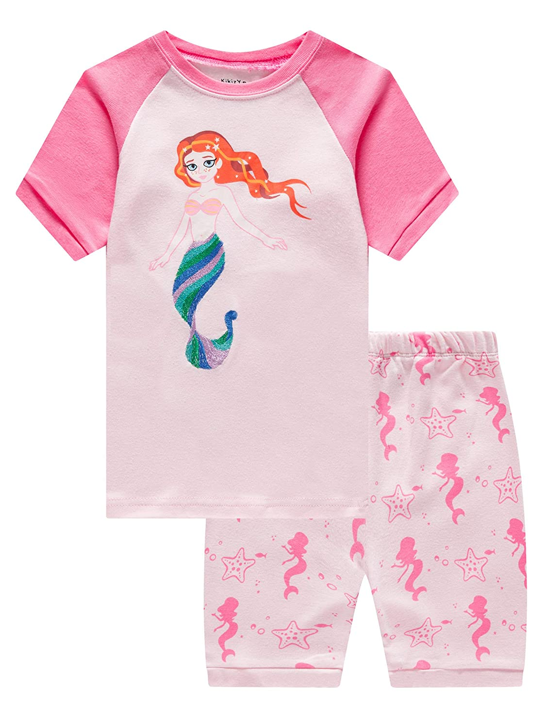 Girls Short Sleeve Pajamas Set Kids Short Pjs Sets Summer Cotton Sleepwears