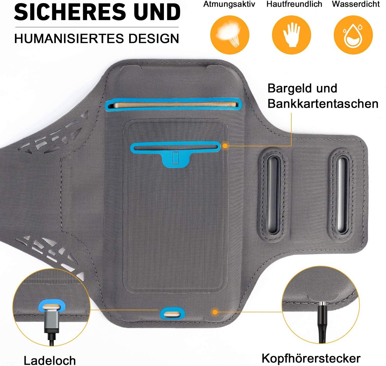 Negra Misteriosa Zeonetak Brazalete para Tel/éfono Deportivo Impermeable y Transpirable Running Arm Bag iPhone 8//Plus//7//X//6s//6 Samsung S8//S7//S6 Sony X Hasta 6,5 Pulgadas
