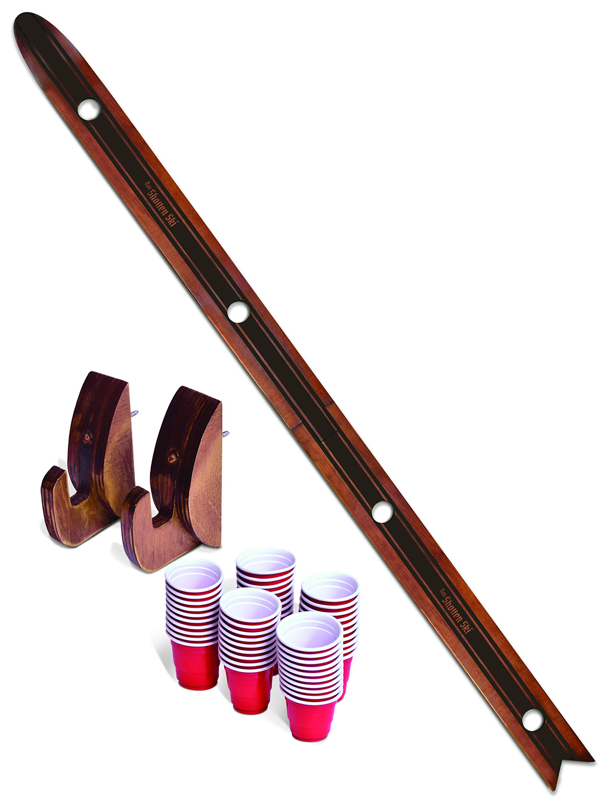 GoPong Das Shotten Ski | Rustic Wood 4 Person Drinking Ski with 50 Plastic Shot Glasses by GoPong