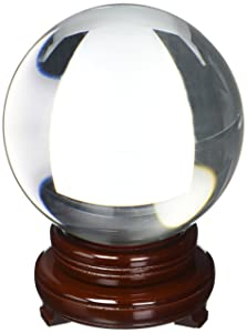 Amlong Crystal Clear Crystal Ball 150mm (6 in.) Including Wooden Stand and Gift Package
