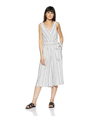 cc1dbe782b0 GAP Women s Stripe Sleeveless Wrap Jumpsuit  Amazon.in  Clothing    Accessories