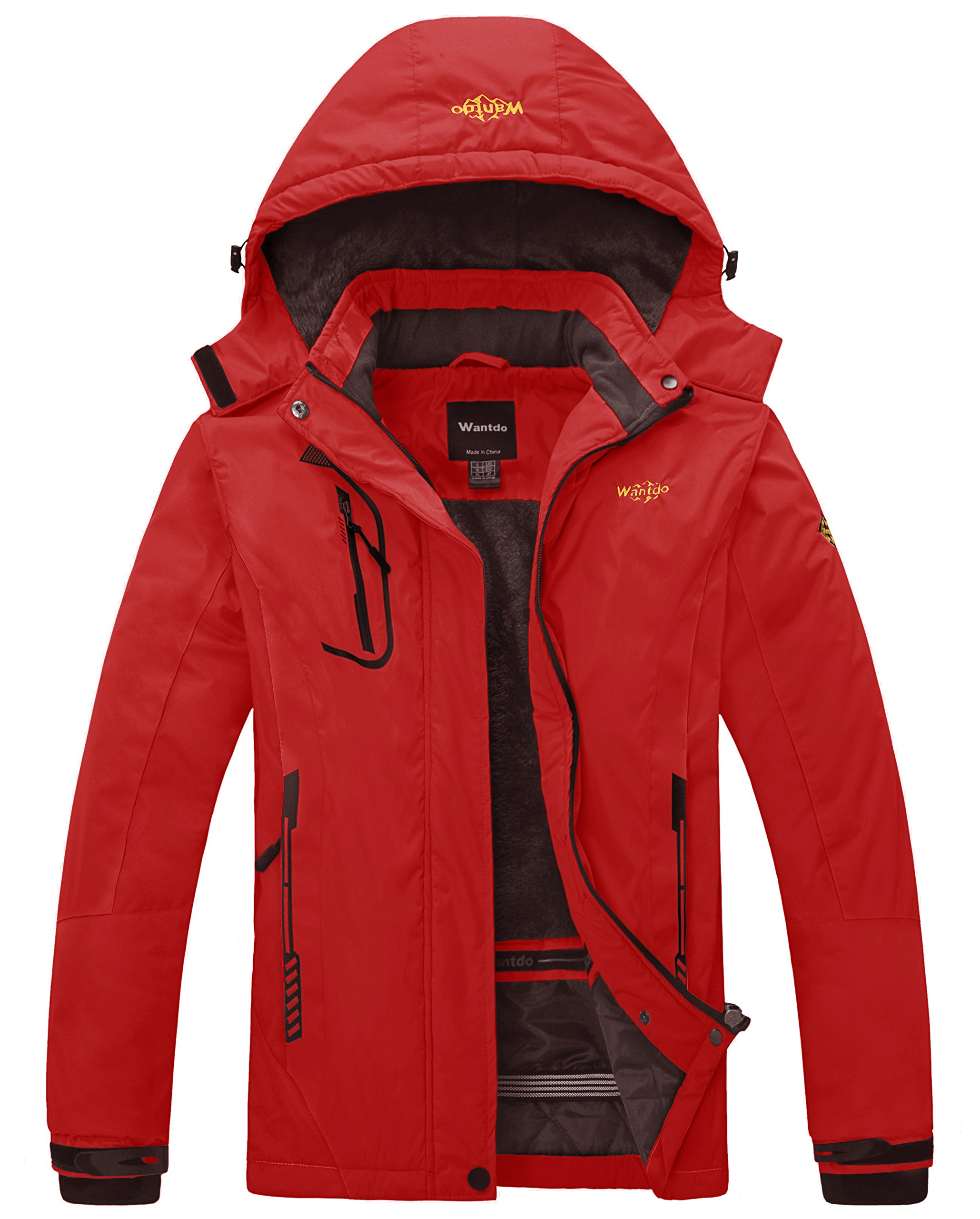 Wantdo Women's Waterproof Mountain Jacket Fleece Windproof Ski Jacket Hiking Jacket Bright Red Small by Wantdo