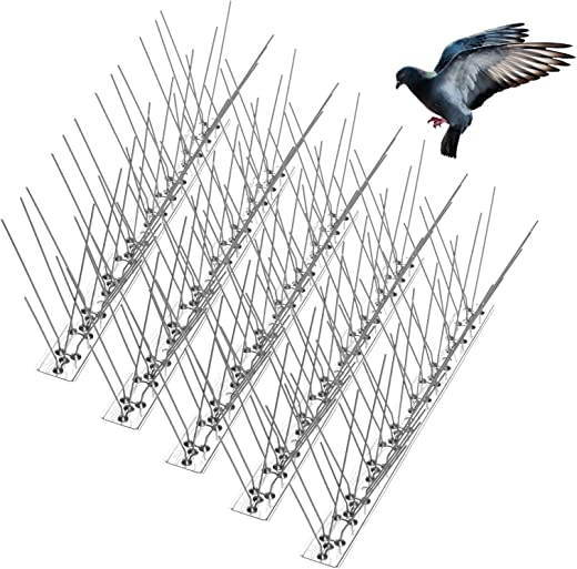 Bird Spikes for Pigeons Small Birds Cat, Anti Bird Spikes Stainless Steel Bird Deterrent Spikes-Cover 10 Feet