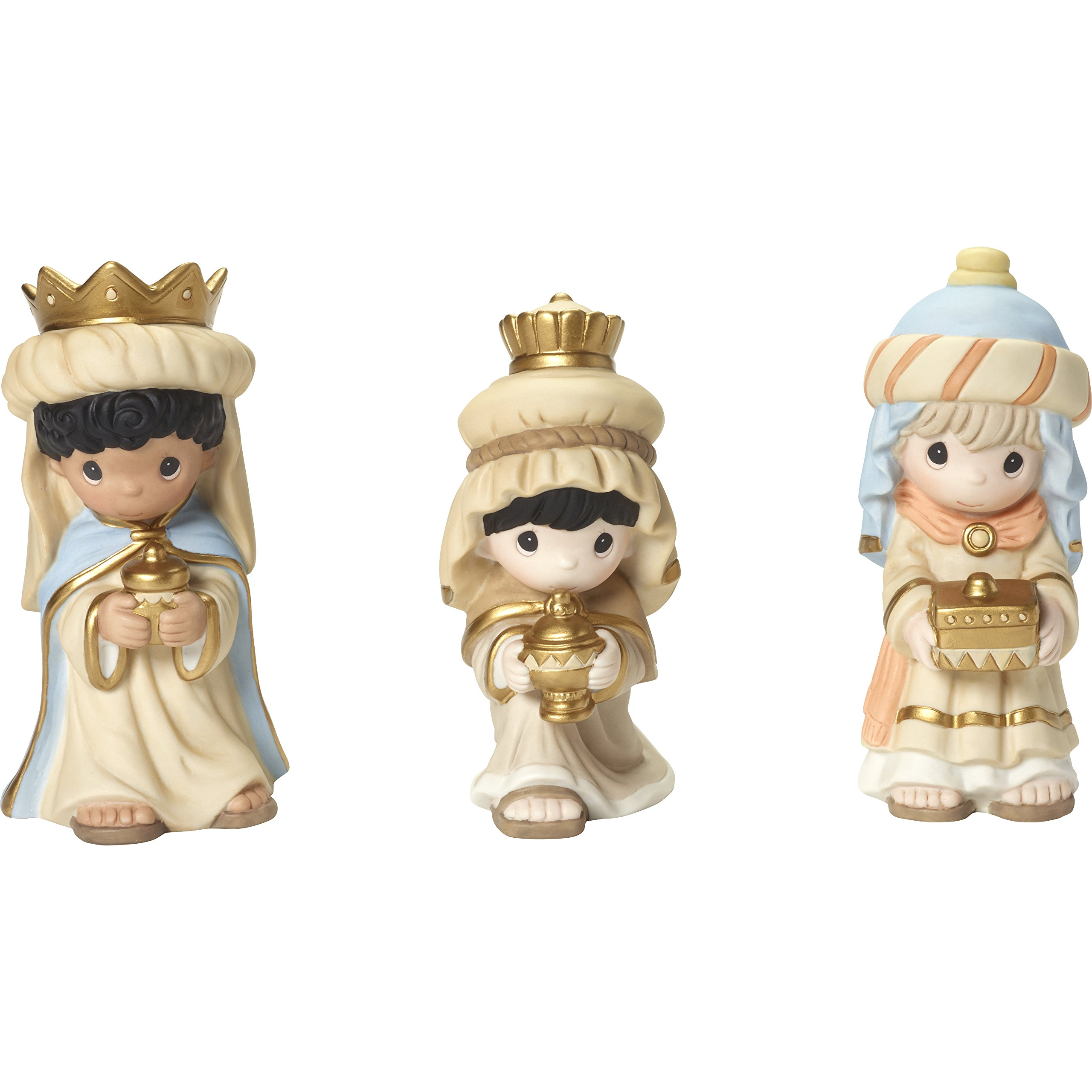 Precious Moments''We Three Kings Wise Men Figurine (Set of 3), Multicolor