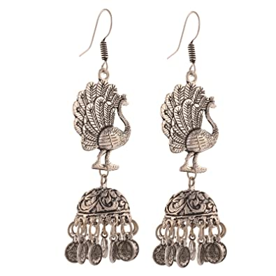 d91cacad7 Amazon.com: Zephyrr Fashion Hanging Hook German Silver Peacock Jhumki  Earrings for Girls: Jewelry