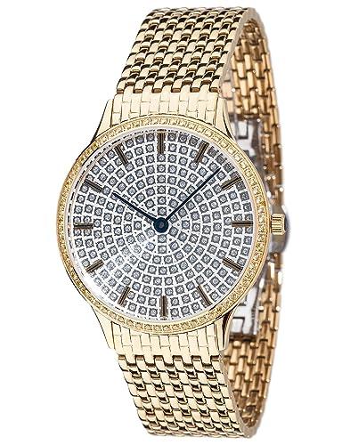 Yves Camani Damen-Armbanduhr Garonne mit vergoldetem Edelstahl-Gehäuse und silbernem mit 150 Zirkoni...