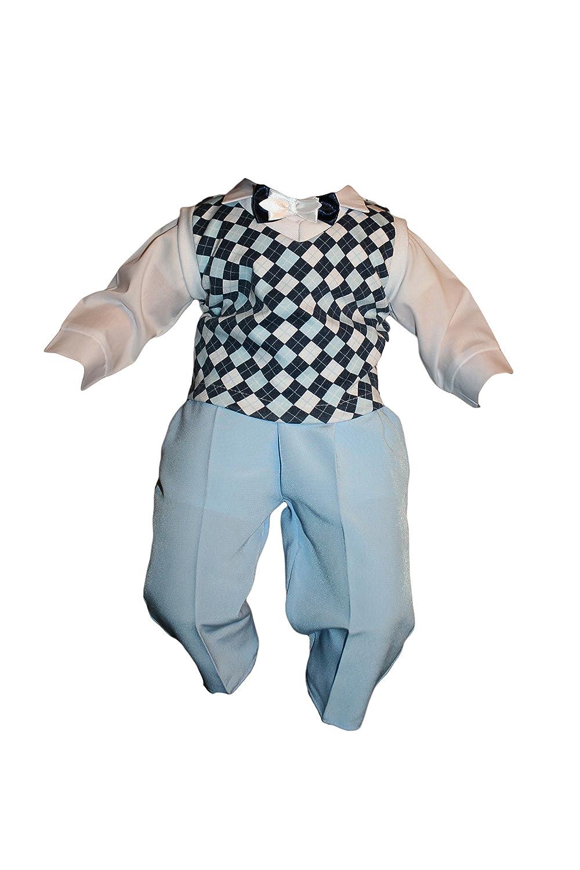 Mono Infantil 5 Pcs Azul A Cuadros Traje De Bautizo Jóvenes ...