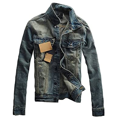 Pajamasea Mens Denim Turn-Down Collar Slim Fit Jacket Coat ...