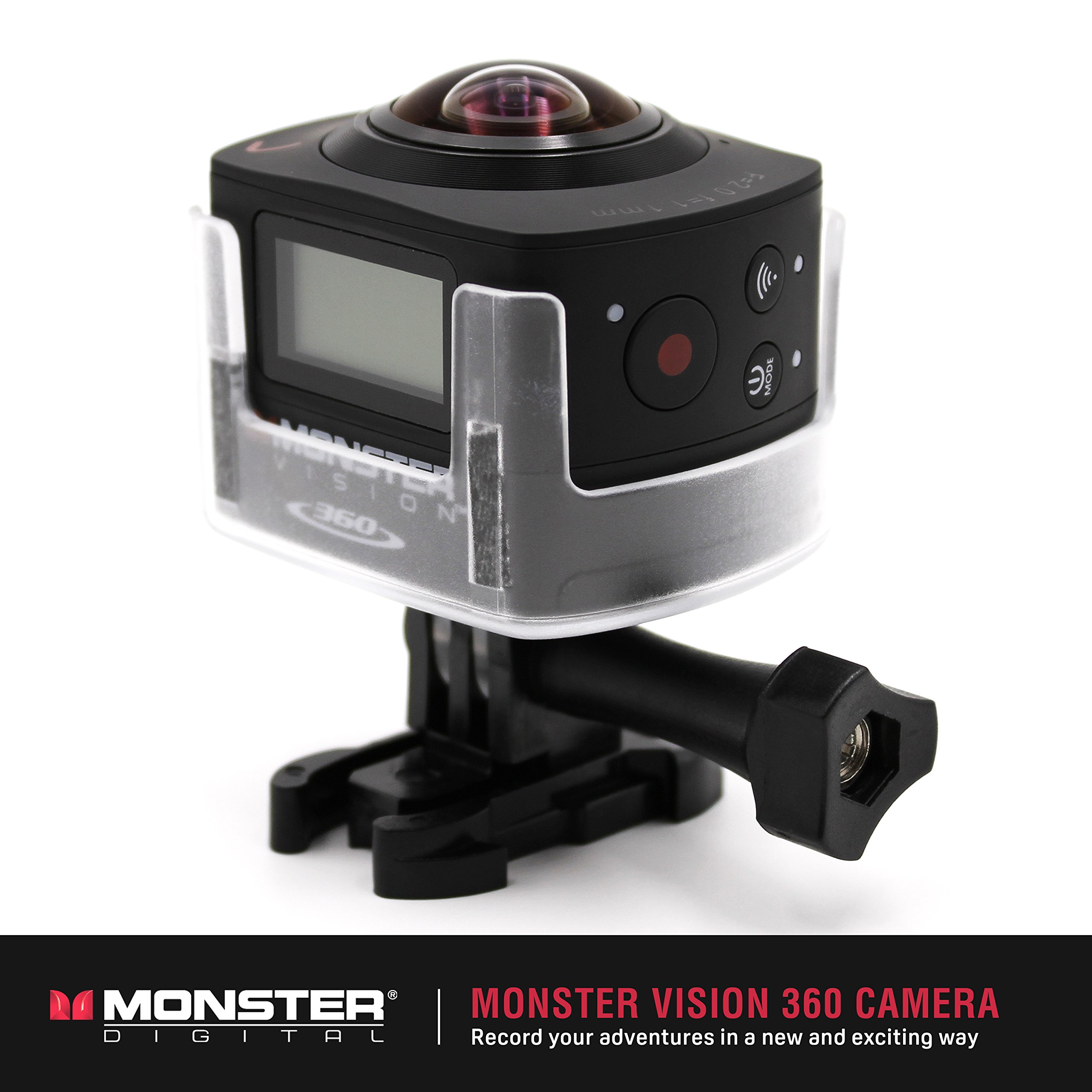 Monster Vision 360 Camera 1080p 60fps Action Camera, 16GB MicroSD included, Ultra Wide Angle, WiFi Enabled [CAMVI-0360-A] by Monster Digital