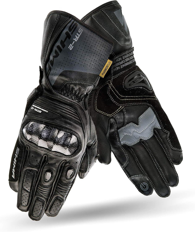 Schwarz//Rot Motorrad Handschuhe Touchscreen Touchscreen Sommer Leder Sport Carbon Touchscreen Herren Motorradhandschuhe mit Protektoren Gr/ö/ße XL SHIMA STR-2