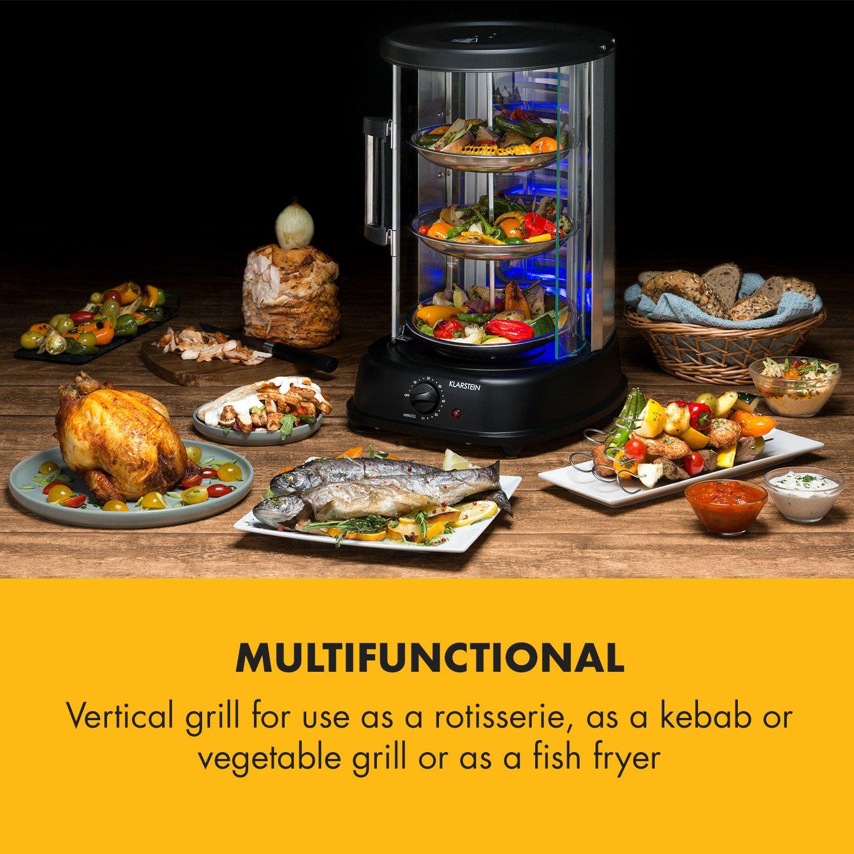 Klarstein Kebab Master Pro Vertical Rotisserie • Kabob-Grill • Kabob Skewer • Rotating Oven • Timer • Max 1500W • Up to 464°F • 22 qt • Stainless Steel • for shawarma, kebob, turkey or fish • Black by KLARSTEIN (Image #2)
