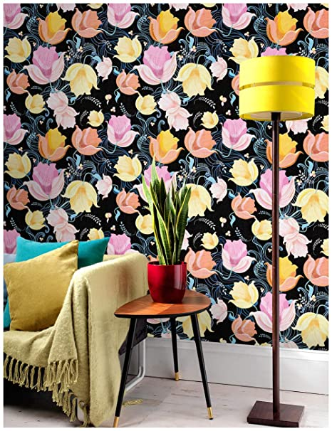 Haokhome 632132 Flower Wallpaper Peel And Stick Wall Murals Black Pink Yellow 17 7 X 19 7ft Prepasted Contact Paper