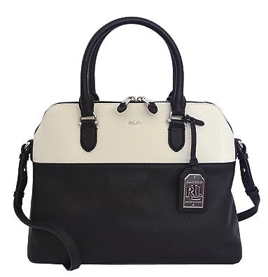 e18a0f8c3a0a Amazon.com  LAUREN Ralph Lauren Women s Harrington Dome Satchel Black White   Shoes