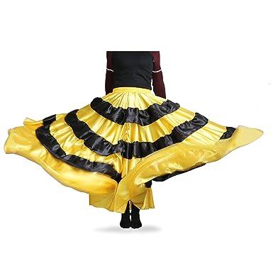 DREAMOWL Women Belly Dance Skirt Circle Costume Spanish Dances Bull Skirt Flamenco (180 Degree)