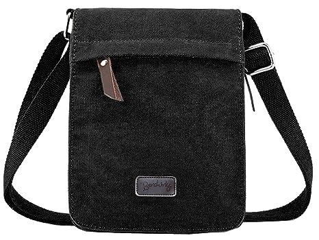 Amazon.com  Berchirly Small Vintage Canvas+Leather Messenger Cross body bag  Pack Organizer  Berchirly Direct 50819d5b20