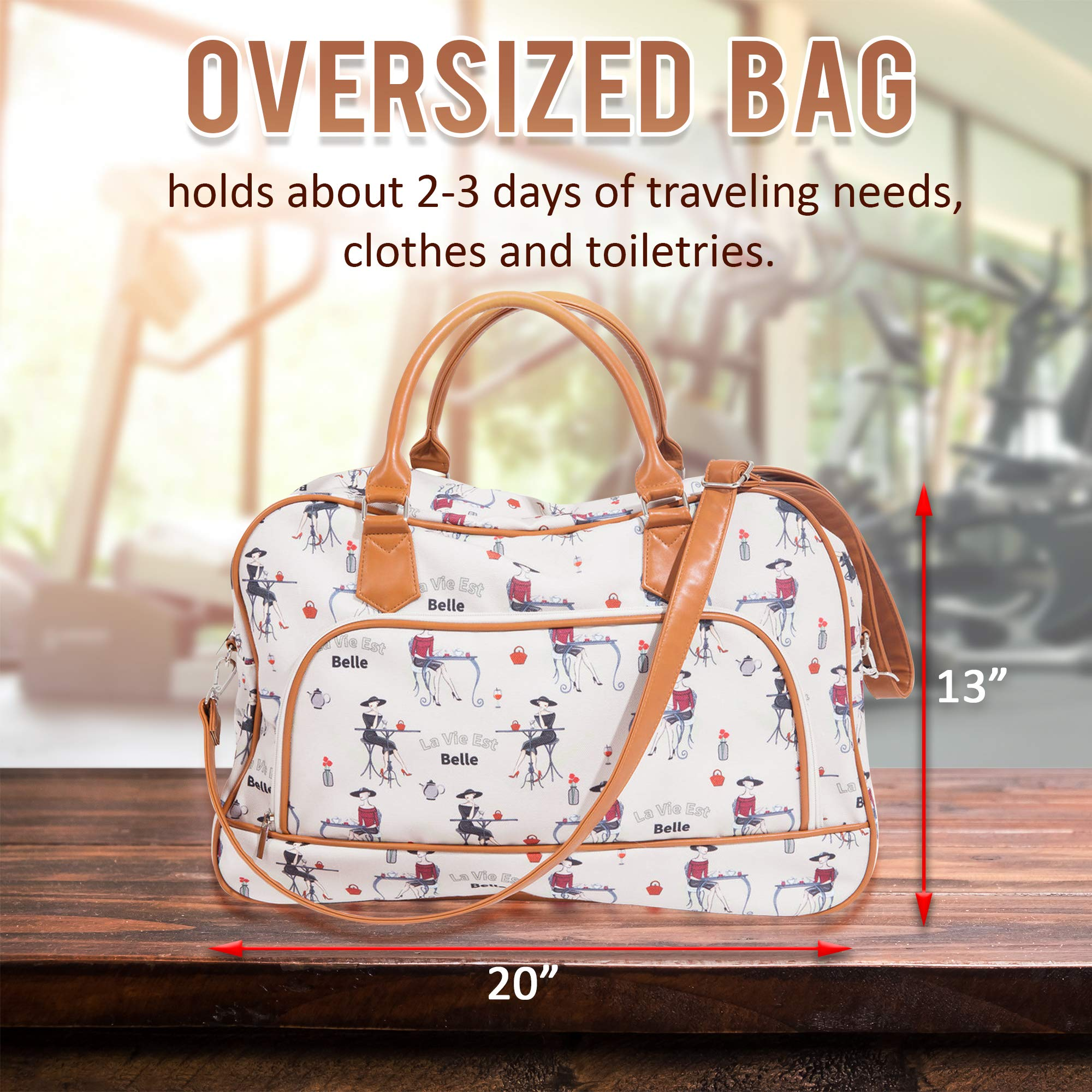 Canvas Weekender Bags For Women: Travel Duffle Tote Bag. Elegant Weekend/Overnight Travel Bag Or Totes - Extra Large 20'' by 13'' by Summerease (Image #2)