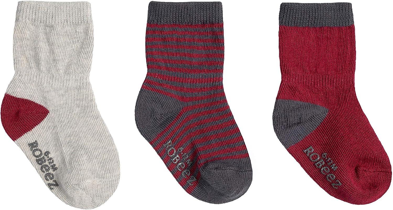 Robeez Socks 6-12m F19 Burgundy Basics 3Pk