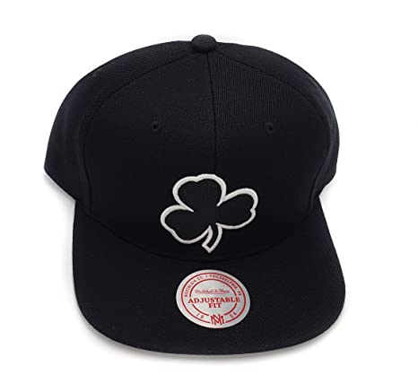 e1ab7ba67eeb5 Image Unavailable. Image not available for. Color  Mitchell   Ness Boston  Celtics Solid Wool Black White Clover Logo Adjustable Snapback Hat