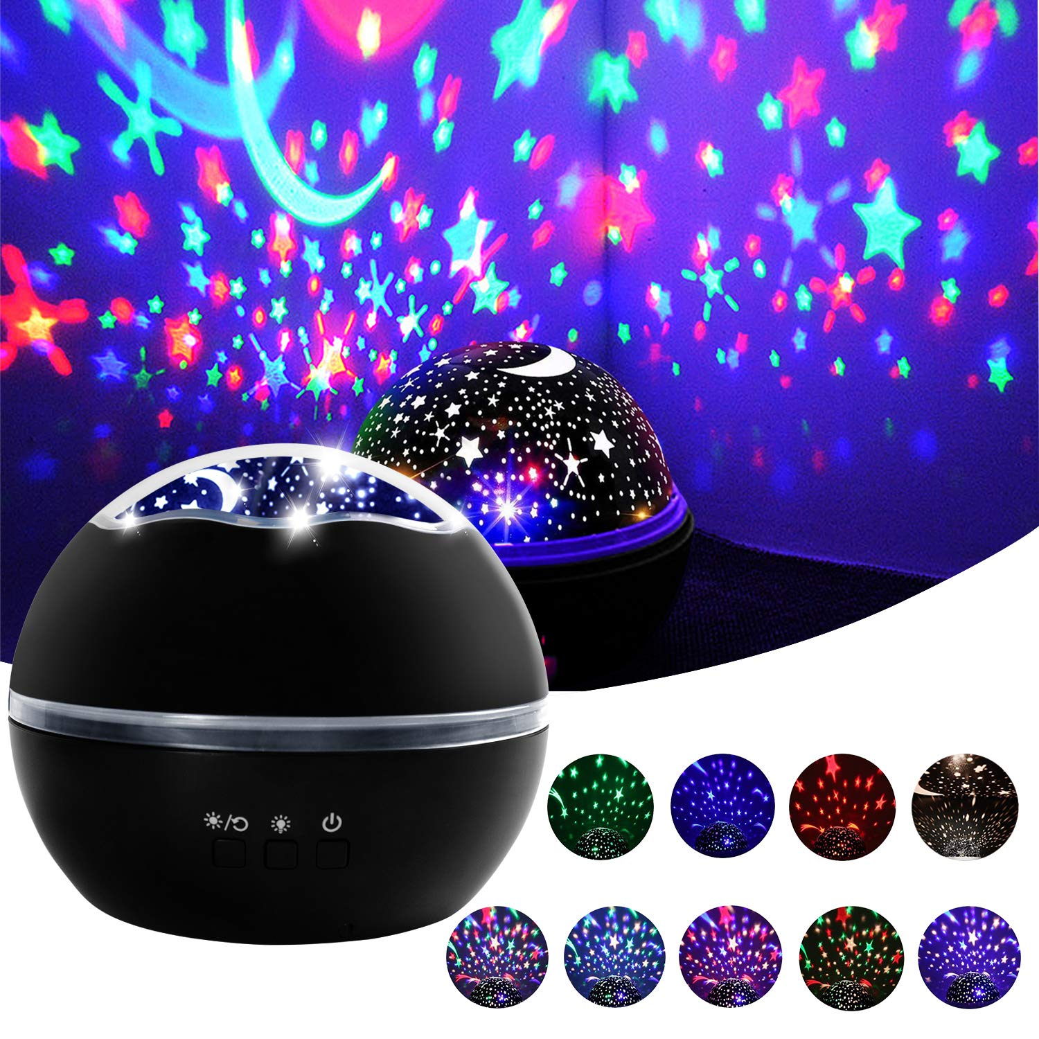 Star projector night light baby projector nuresy lamp 360 degree rotating star moon cover projector night light for kids bedroom birthdaybaby nursery