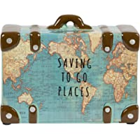 Sass & Belle Saving To Go Places Travel Case Suitcase Vintage Map Money Box