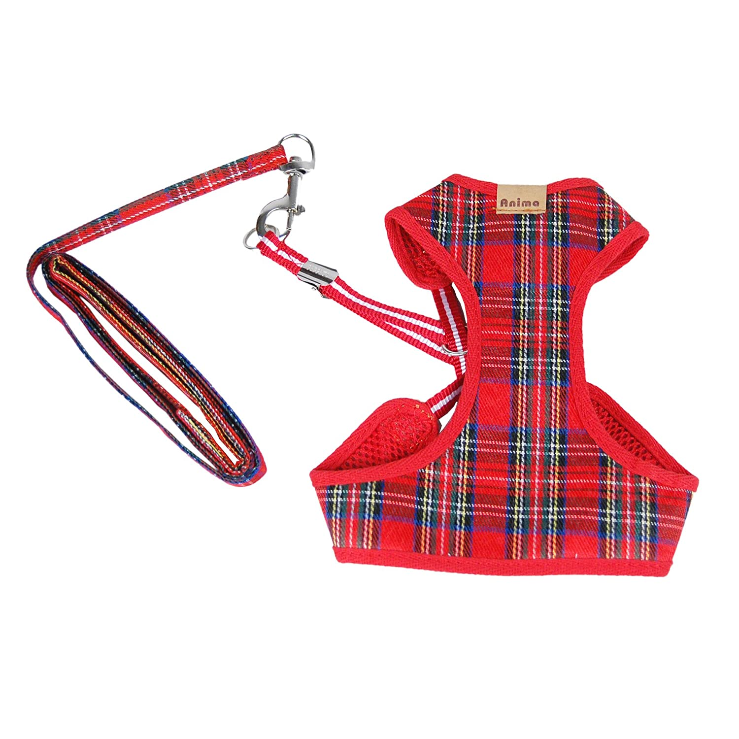 Anima AN13325-XS-RD Plaid Harness with Leash, X-Small
