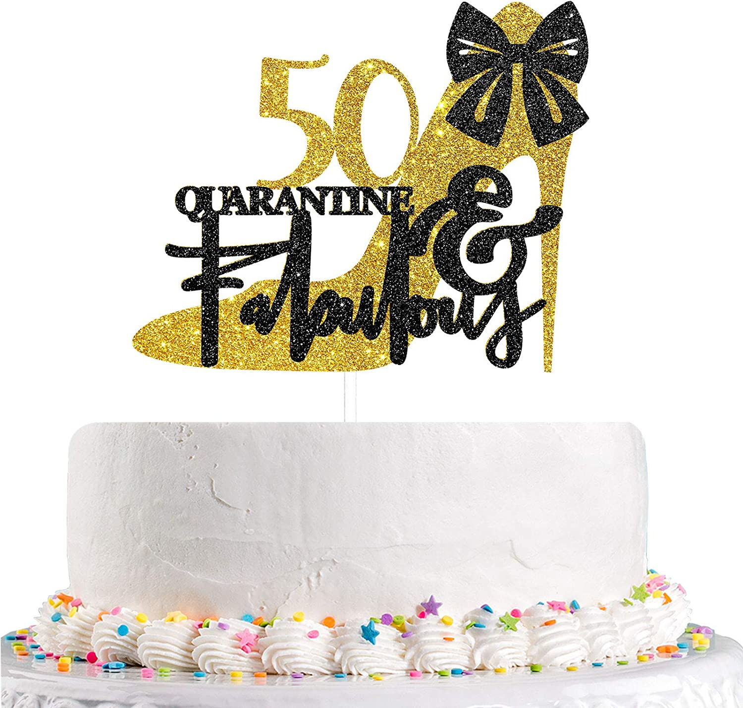Talorine Gold Black Fifty & Fabulous Cake Topper for 50th Birthday Decor, 50 & Quarantine Fabulous, Women and Girls Fifty Theme Birthday Wedding Anniversary Party Cake Decorations Supplies Glitter