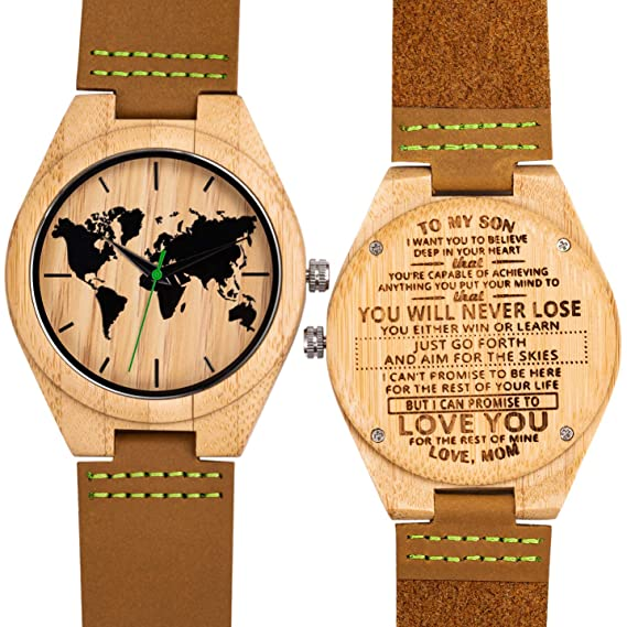 MUJUZE Hombres Relojes Madera Bambú Personalizado Moda Casual Clásico Hecho a Mano de Madera Relojes Regalo