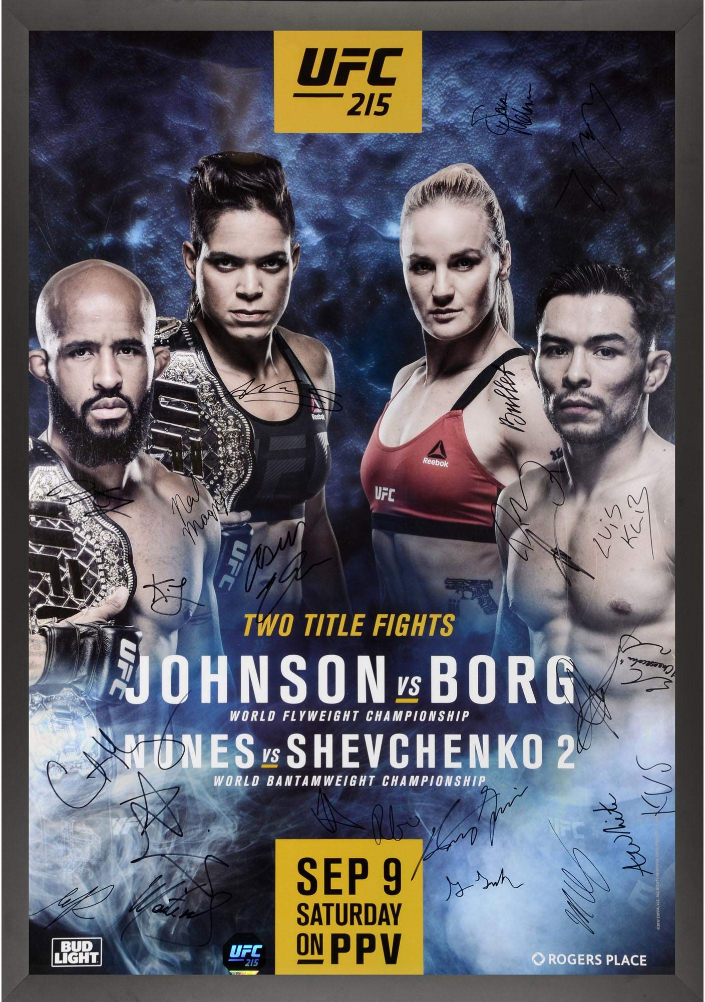 "UFC 215 Nunes vs. Shevchenko II Framed Autographed 27"" x 39"" 22 Signature Fight Poster Fanatics Authentic Certified"