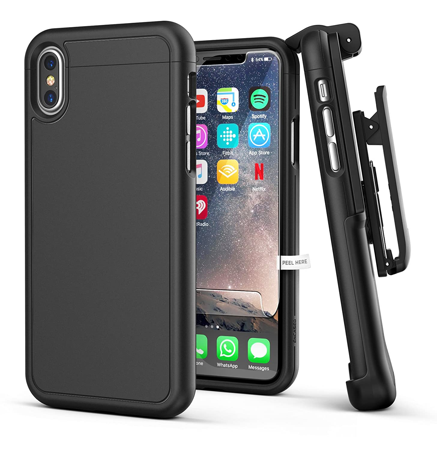 iPhone X/iPhone Xs Belt Case w/Screen Protector, Encased [SlimShield Series] Protective Grip Case with Holster Clip for Apple iPhoneX (2017 Release) Smooth Black SD45BK-HL