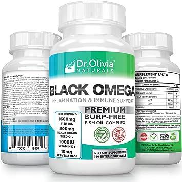 Dr Olivia's Enteric Coated Fish Oil + Black Cumin Seed Oil, Vitamin D3 &  Resveratrol for