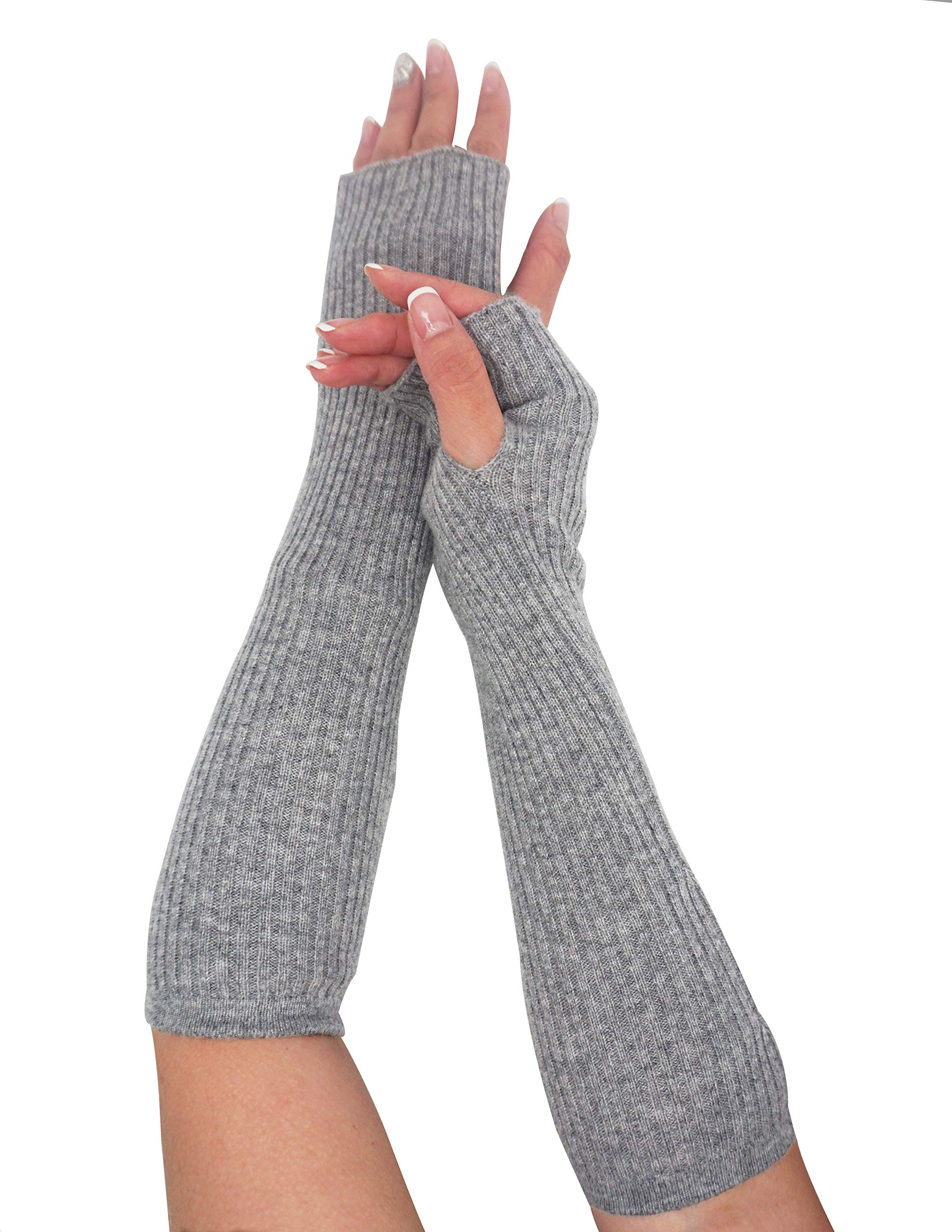 State Cashmere Women's 100% Cashmere Knit Long Fingerless Arm Warmers Mitten Gloves 13'' by State Cashmere