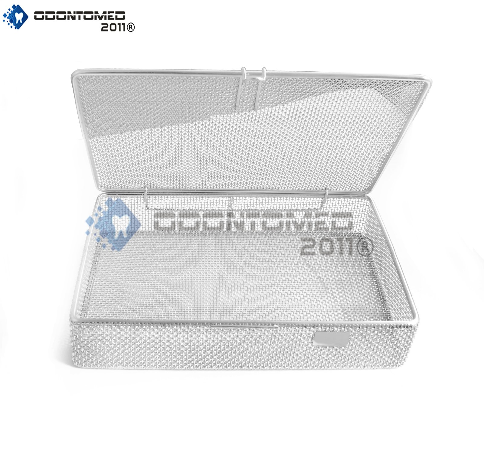 OdontoMed2011 INSTRUMENT TRAY AND MESH PERFORATED BASKETS STERILIZATION TRAY 9'' X 6.25'' X 1.5'' WITH LID STAINLESS STEEL, OD2011-DN-313