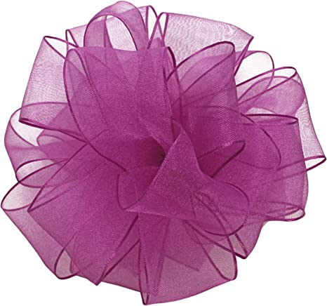 1-1//2-Inch Wide by 25-Yard Spool Aubergine Offray Wired Edge Encore Sheer Craft Ribbon