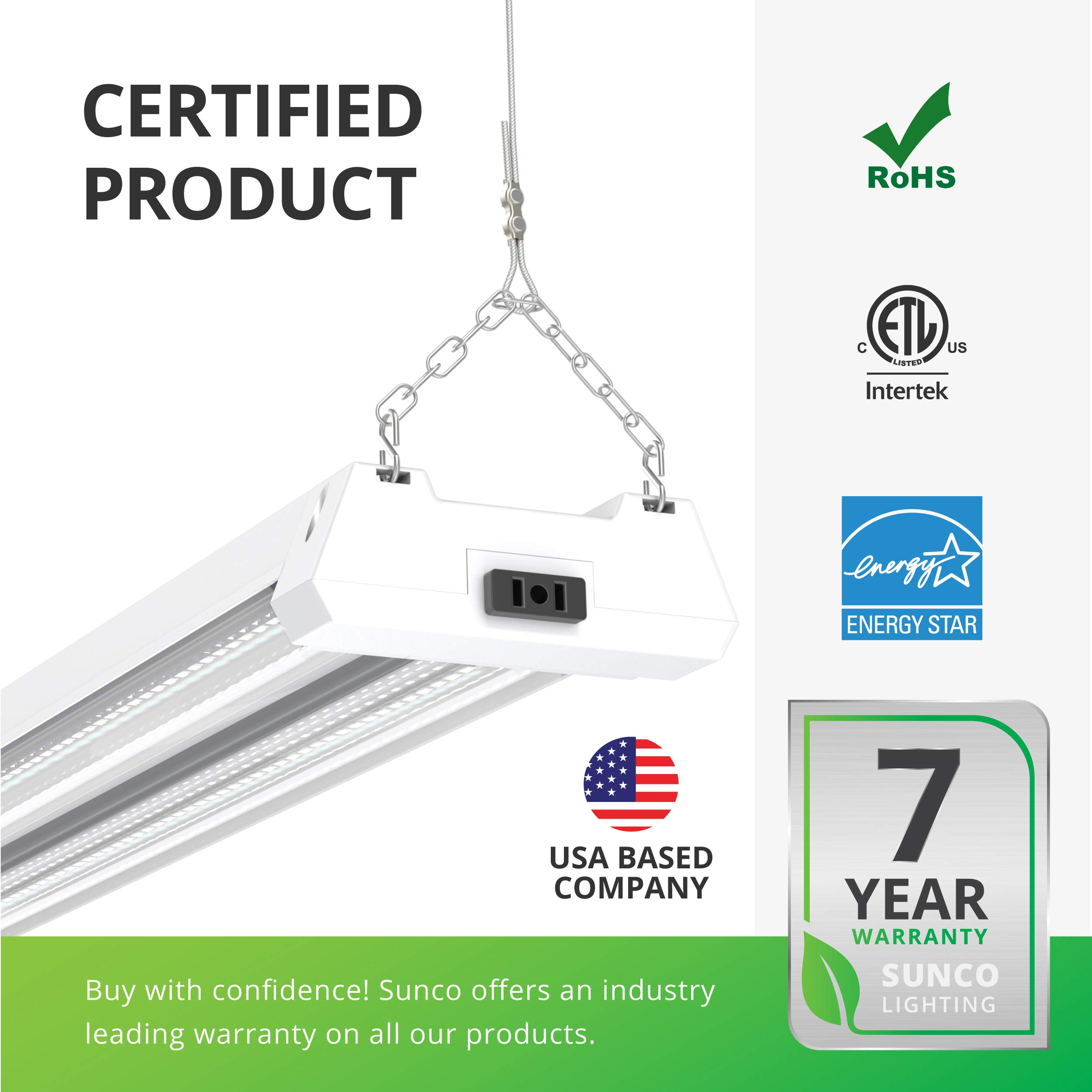 Sunco Lighting 12 Pack LED Utility Shop Light, 4 FT, Linkable Integrated Fixture, 40W=260W, 5000K Daylight, 4500 LM, Clear Lens, Surface/Suspension Mount, Pull Chain, Garage - ETL, Energy Star by Sunco Lighting (Image #8)