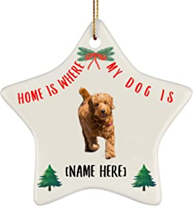 Lovesout Personalized Name Goldendoodle Apricot Home is Where My Dog is Christmas Star Ornament